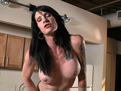 Morgan bailey in kitchen fun. Charming tranny Morgan Bailey masturbating