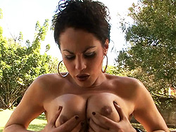 Rabeche masturbating. Naughty shemale Rabeche enjoying herself outdoors