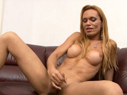 Karen. Excited tranny jerking off her fat dick