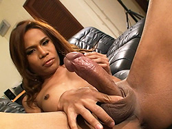 May. Hot tranny May jerking off her huge juicy penish
