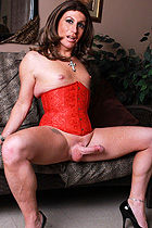 Red corset huge tool. Beautiful Reese shows her huge penish