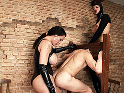 Dominatrix rabeche and natasha. Two tranny Mistresses Treating Their Slave