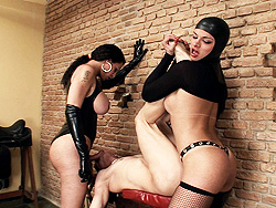 Mistress rabeche and natasha. A Guy Gets break into By Two tgirl Mistresses