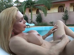 Veronica freitas  hot blond veronica jerks of at the poolside. Hot blond Veronica jerks of at the poolside